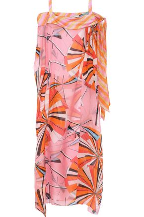 EMILIO PUCCI Cold-shoulder printed silk-seersucker kaftan