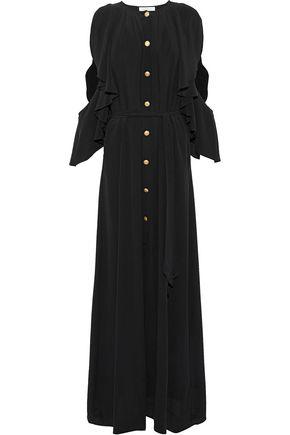 PIERRE BALMAIN Cold-shoulder button-detailed ruffled washed-silk maxi dress