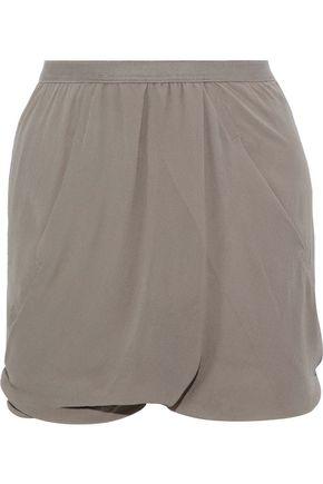 RICK OWENS Draped crepe de chine shorts