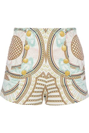 PIERRE BALMAIN Button-embellished printed stretch-knit shorts