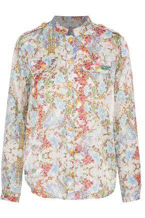 PIERRE BALMAIN Button-detailed floral-print cotton and silk-blend shirt