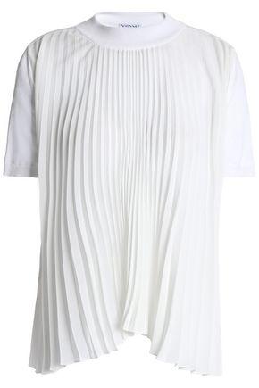VIONNET Pleated crepe de chine-paneled silk-blend top
