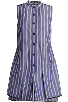 PROENZA SCHOULER Layered striped cotton mini shirt dress