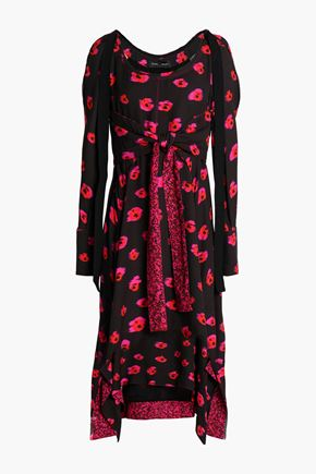 PROENZA SCHOULER Asymmetric knotted printed crepe dress