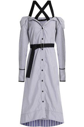 PROENZA SCHOULER Cold-shoulder striped cotton midi dress