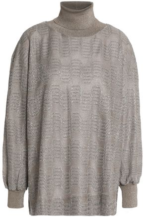 M MISSONI Metallic crochet-knit turtleneck top