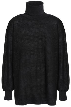 M MISSONI Metallic crochet-knit turtleneck top