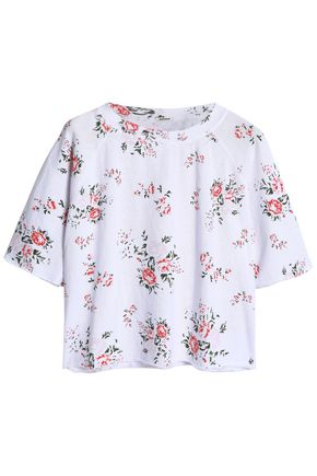 MONROW Cropped floral-print jersey T-shirt