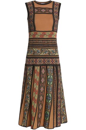 M MISSONI Embroidered crochet-knit wool-blend dress