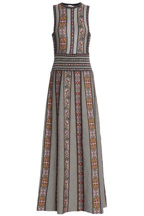 M MISSONI Pleated metallic jacquard-knit maxi dress
