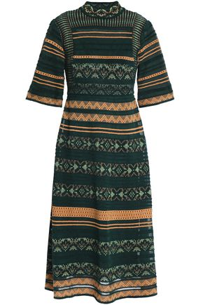 M MISSONI Embroidered crochet-knit midi dress