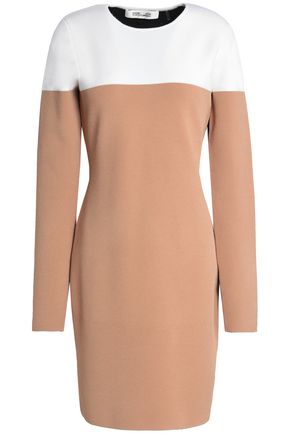 DIANE VON FURSTENBERG Color-block merino wool-blend mini dress