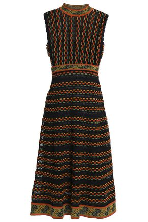 M MISSONI Open knit-trimmed jacquard-knit dress