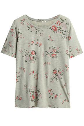 MONROW Floral-print slub jersey T-shirt