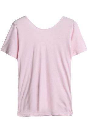 MONROW Wrap-effect cotton-jersey T-shirt