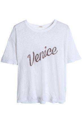 MONROW Printed slub linen-jersey T-shirt