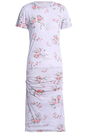 MONROW Ruched floral-print jersey dress