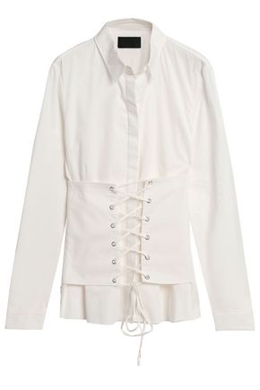 RTA Jeanine lace-up layered cotton-twill shirt
