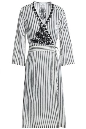 DAY BIRGER ET MIKKELSEN Embroidered striped twill wrap dress
