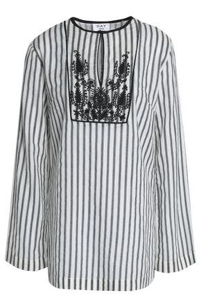 DAY BIRGER ET MIKKELSEN Embroidered striped twill blouse
