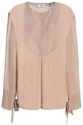DAY BIRGER ET MIKKELSEN Lamé-trimmed chiffon blouse