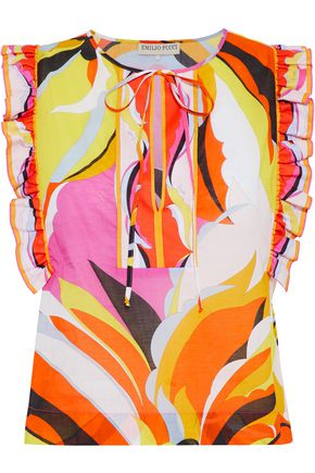 EMILIO PUCCI Ruffle-trimmed printed cotton top