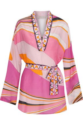 EMILIO PUCCI Printed cotton and silk-blend voile coverup