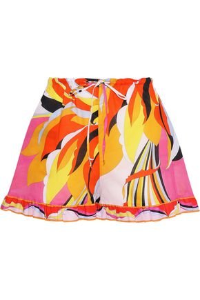 EMILIO PUCCI Ruffle-trimmed printed cotton shorts