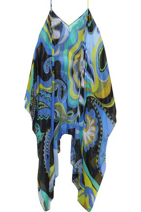 EMILIO PUCCI Cold-shoulder metallic printed silk-blend chiffon coverup