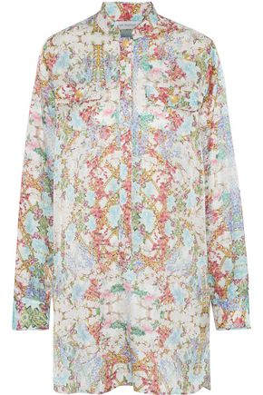 PIERRE BALMAIN Floral-print cotton and silk-blend satin mini dress