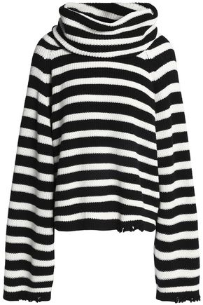 RTA Alexis striped ribbed cotton turtleneck swearer