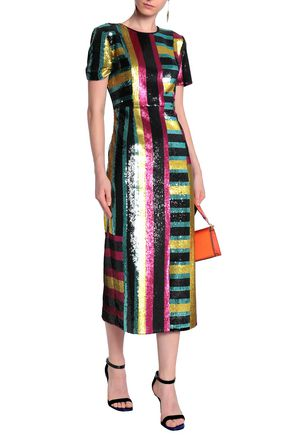 DIANE VON FURSTENBERG Striped sequined midi dress