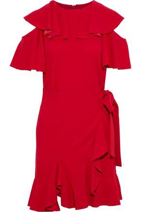 GOEN.J Cold-shoulder wrap-effect ruffled crepe dress