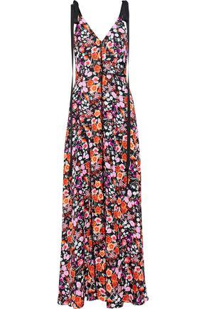 GOEN.J Lace-trimmed floral-print crepe de chine maxi dress