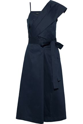 GOEN.J Asymmetric belted cotton-poplin dress