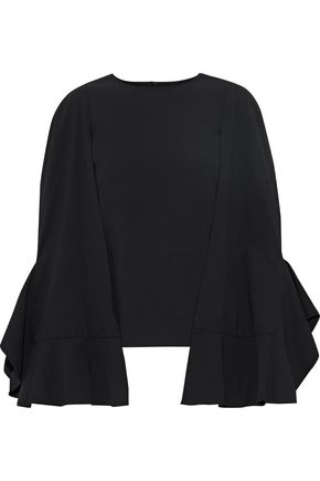 WOMAN CAPE-EFFECT RUFFLED CREPE BLOUSE BLACK
