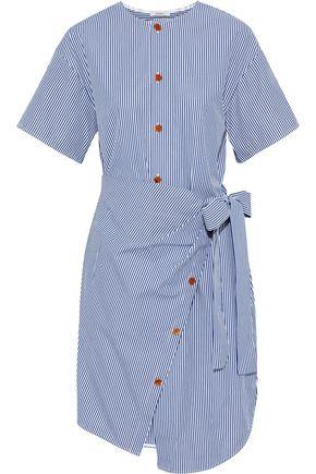 GOEN.J Wrap-effect striped cotton-poplin dress