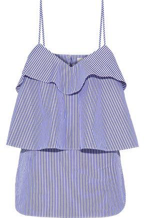 GOEN.J Tiered striped cotton-poplin camisole