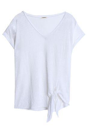 MONROW Tie-front slub linen-jersey T-shirt