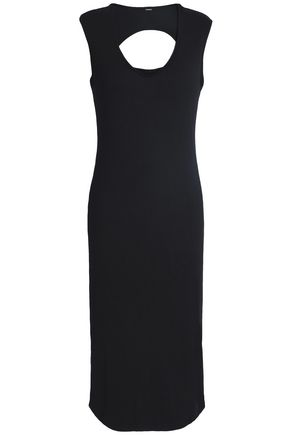 MONROW Cutout ribbed cotton and modal-blend jersey dress