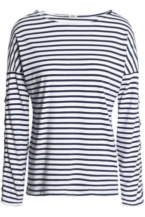 MONROW Lace-up striped cotton and modal-blend jersey top