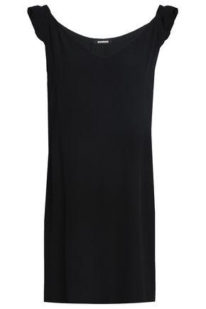 MONROW Ruffle-trimmed crepe mini dress
