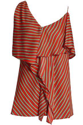 DIANE VON FURSTENBERG Ruffled striped silk-blend crepe de chine top