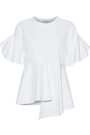 GOEN.J Asymmetric ruffled cotton-jersey T-shirt