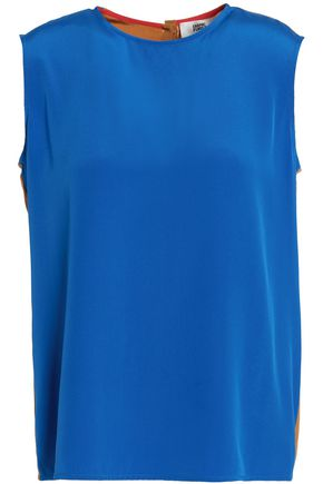 DIANE VON FURSTENBERG Paneled color-block silk top