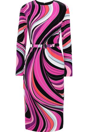 EMILIO PUCCI Belted printed velvet dress