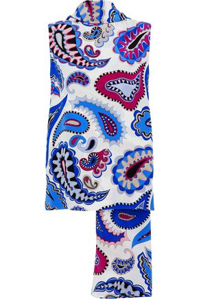 EMILIO PUCCI Tie-neck printed silk wrap top