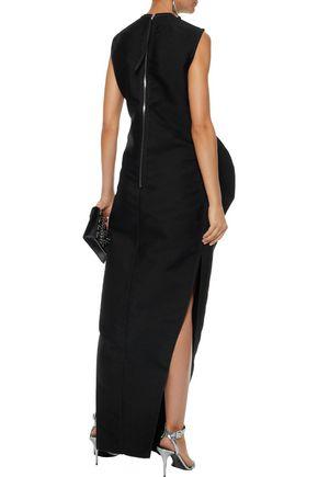 RICK OWENS Draped wool, cotton, and silk-blend miaxi dress