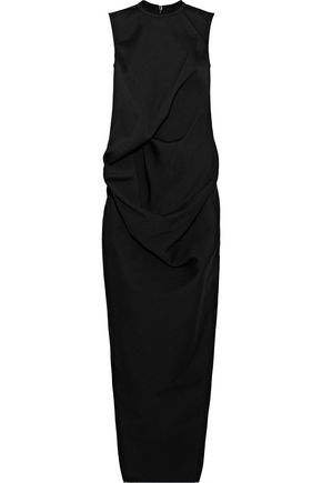 RICK OWENS Draped wool, cotton, and silk-blend miaxi dress