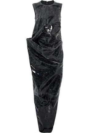 RICK OWENS Gathered printed PVC maxi dress